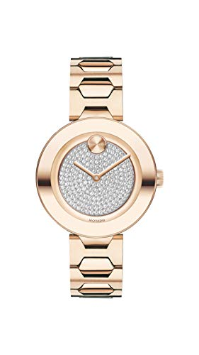 Movado Women's BOLD T-Bar Carnation Watch with a Flat Dot Crystal Dial, Pink
