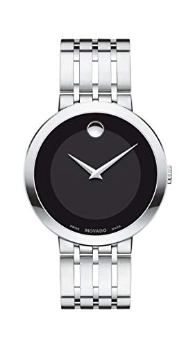 Movado Men's Esperanza Stainless Steel Watch with a Concave Dot Museum Dial, Silver/Black (607057)