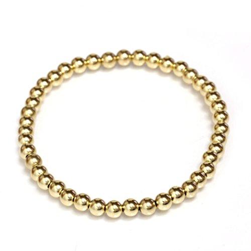 Seven Seas Pearls Bead Stretch Elastic Bracelet 14k Gold Yellow