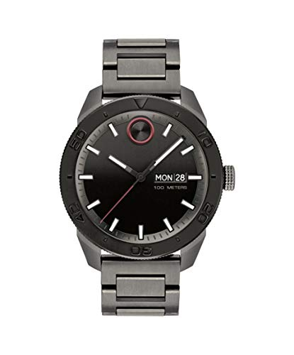 Movado Bold, Ionic Plated Gunmetal Steel Case, Black Dial