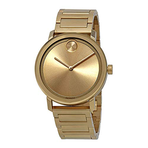 Movado Bold Gold Dial Yellow Gold Ion-Plated Mens Watch