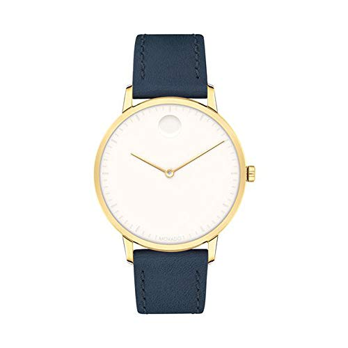 Movado FACE, Gold Ion-Plated Stainless Steel Case, White Dial, Navy Leather Strap, Women, 3640010