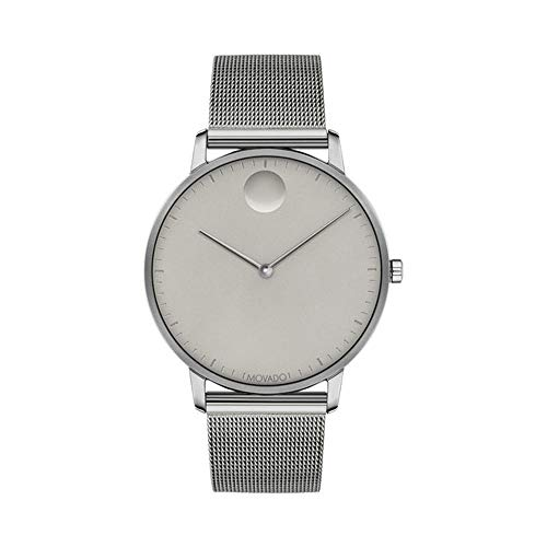 Movado FACE Grey Stainless Steel Case, Mesh Bracelet, Grey Dial