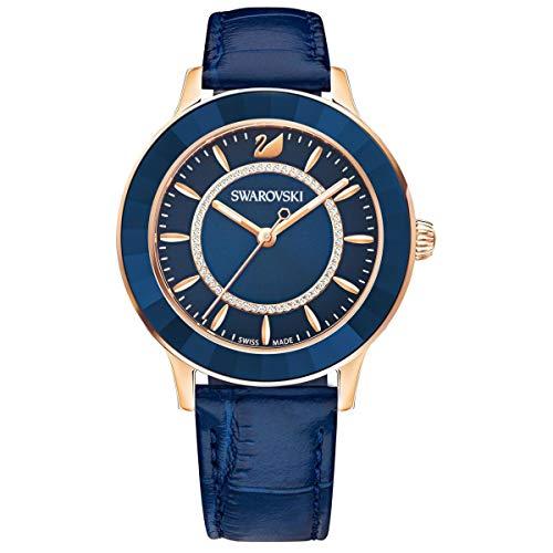 Swarovski Octea Lux Watch Leather Strap Blue Rose Gold Tone