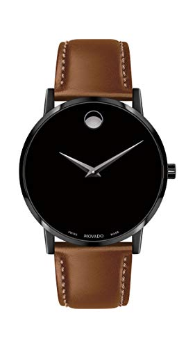 Movado Men's Museum Black PVD Watch with a Concave Dot Museum Dial, Silver/Black (Model 607273)