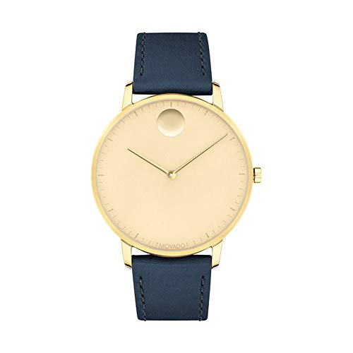 Movado FACE, Gold Ion-Plated Stainless Steel Case, Gold-Toned Dial, Navy Leather Strap, Men, 3640005