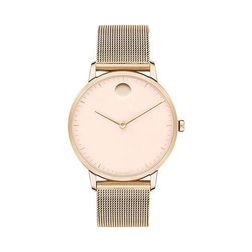Movado FACE, Carnation Gold Stainless Steel Case, Pink Dial, Mesh Bracelet, Women, 3640016