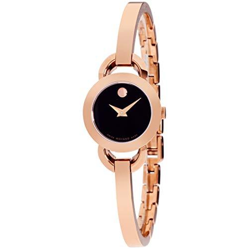 Movado Rondiro Quartz Movement Black Dial Ladies Watch 0607065