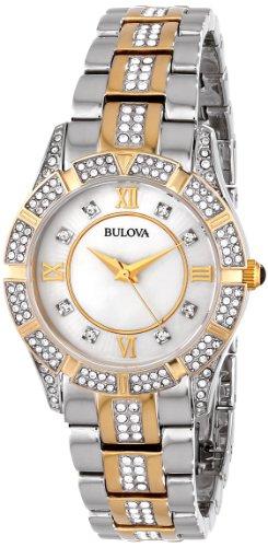 Bulova Women's Swarovski Crystal Two Tone Bracelet Watch