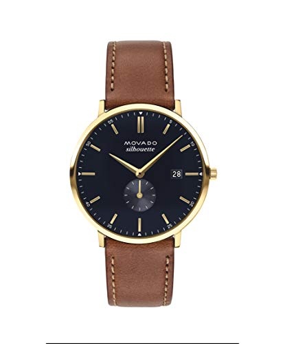 Movado Heritage, Gold Ion-Movado Heritage, Ionic Gold Plated Steel Case, Navy Dial, Tan Leather Strap, Women, 3650067Plated Stainless Steel Case, Navy Dial, Tan Leather Strap, Men, 3650067