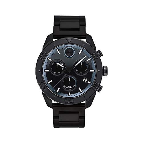 Movado Men's BOLD Sport Chronograph Black PVD Watch with a Printed Index Dial, Black (Model 3600514)