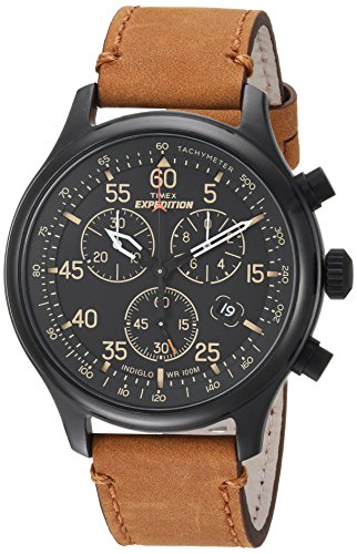 Timex Men's Expedition Field Chronograph Tan/Black Leather Strap Watch