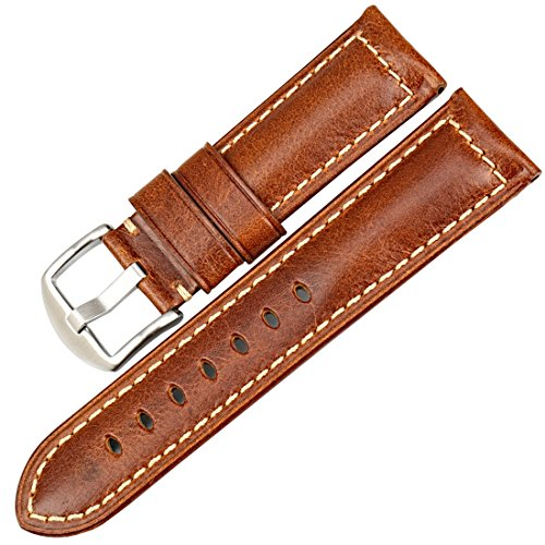 MAIKES Vintage Oil Wax Leather Strap Watch Band 5 Colors Available
