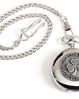 Celtic Pocket Watch Classic Style Shamrock Design Pewter Made in Ireland