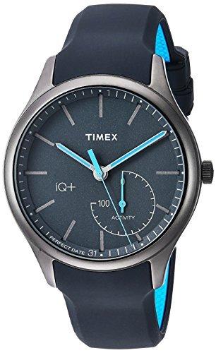 Timex Men's IQ+ Move Activity Tracker Gray/Black/Blue Silicone Strap Smartwatch