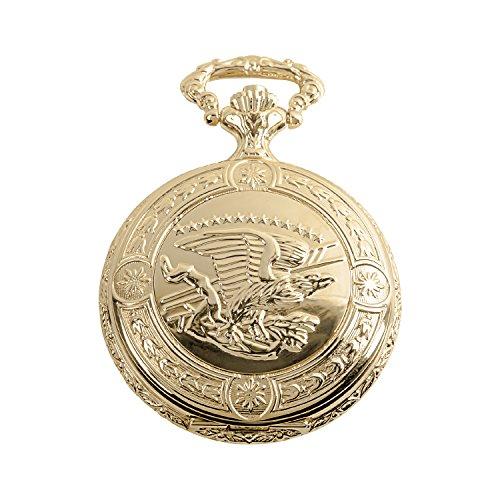 Daniel Steiger Flying Eagle Luxury Vintage Hunter Pocket Watch with Chain