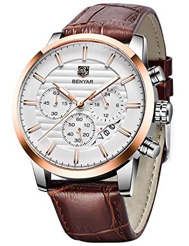 BENYAR Chronograph Waterproof Watches Business and Sport Design Brown