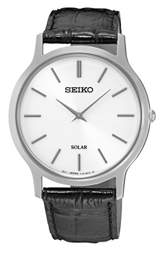 Seiko Mens Black Leather Strap Watch