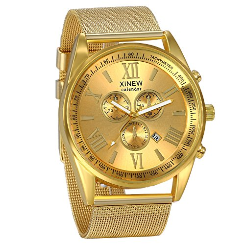 JewelryWe Luxury Men's 3 Eyes Calendar Watch Stainless Steel Mesh Band Quartz