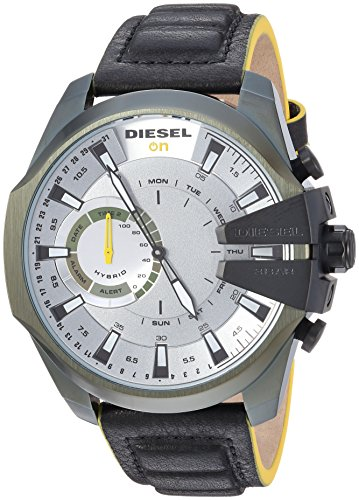 Diesel Men's Stainless Steel Hybrid Watch with Leather Strap, Black