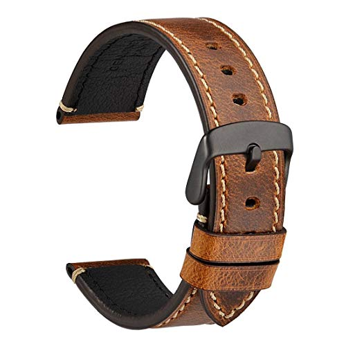 WOCCI 22mm Watch Band, Premium Saddle Style Vintage Leather Watch Strap