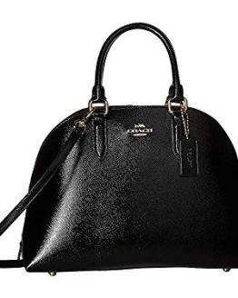 COACH Quinn Satchel in Crossgrain Patent Leather Li/Black One Size