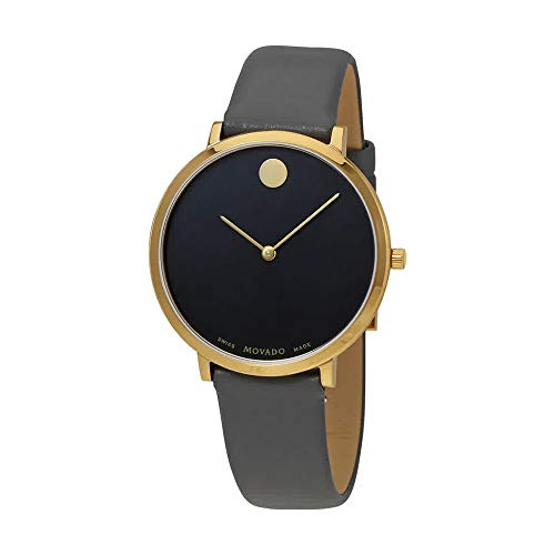Movado Women's Museum 70th Anniversary 35mm Grey Leather Band Gold