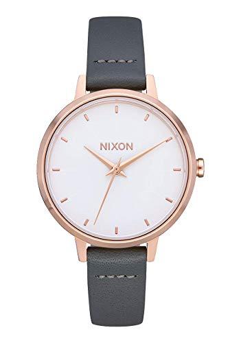 NIXON Medium Kensington Leather- Rose Gold/Gray - 50m Water Resistant