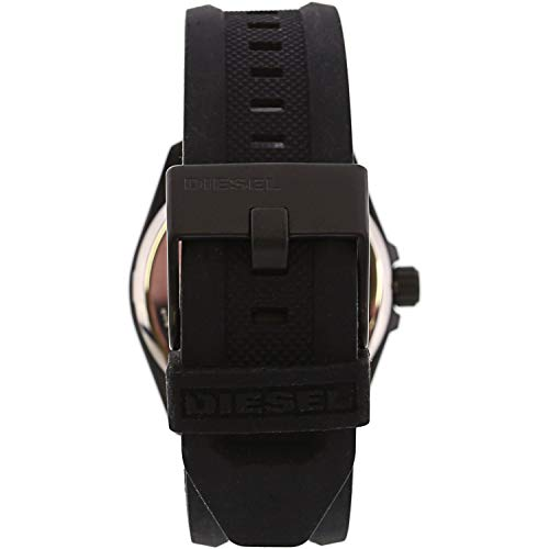 Diesel Black One Size   Watch Sizing Guide You will be incognito wearing this Diesel® MS9 - DZ189 watch. Round stainless steel case with matte black coating. Adjustable black silicon wrist strap. Traditional buckle closure. Three-hand analog display with quartz movement. Black dial face features stick index hour markers, date display window, and brand name. Splash resistant up to 5 ATM/50 meters. Presentation box included. Imported. Measurements:Case Height: 43 1⁄5 mm Case Width: 43 1⁄5 mm Case Depth: 10 4⁄5 mm Band Width: 22 mm Band Circumference/Length: 10 1⁄2 in Weight: 2.8 oz   Watch Sizing Guide You will be incognito wearing this Diesel® MS9 - DZ189 watch. Round stainless steel case with matte black coating. Adjustable black silicon wrist strap. Traditional buckle closure. Three-hand analog display with quartz movement. Black dial face features stick index hour markers, date display window, and brand name. Splash resistant up to 5 ATM/50 meters. Presentation box included. Imported. Measurements:Case Height: 43 1⁄5 mm Case Width: 43 1⁄5 mm Case Depth: 10 4⁄5 mm Band Width: 22 mm Band Circumference/Length: 10 1⁄2 in Weight: 2.8 oz</p>
