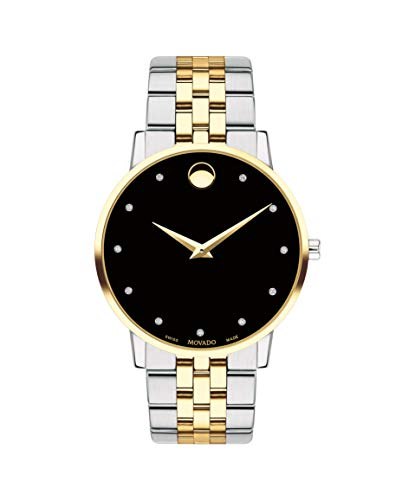 Movado Museum, Stainless Steel Yellow Pvd Case, Black Dial, Stainless Steel Bracelet