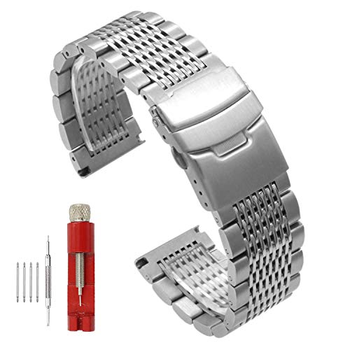 Side Brushed Intermediate Polished Mesh Braided Solid Stainless Steel Watch