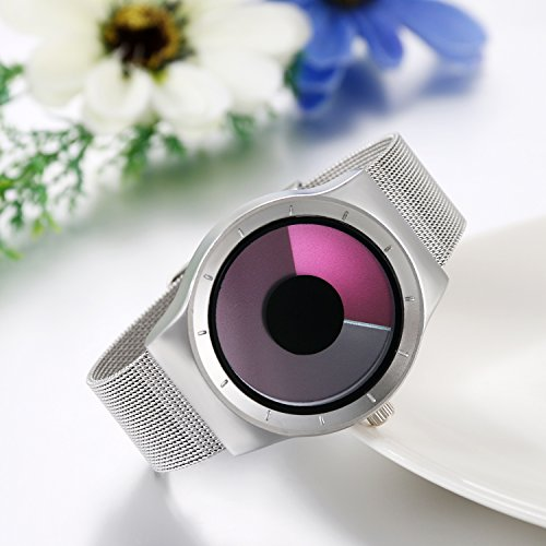JewelryWe Women Men Novelty Swirl No Pointer Design Stainless Steel Mesh