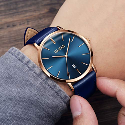 """OLEVS Mens Ultra Thin Leather Watches Large Dial Navy Blue   Mens Watches Leather Band 💗High Quality - PURCHASE WITHOUT WORRY💗 Not satisfied with 90-day refund. Japan Quartz movement, SONY 364 SR621SW button battery, the battery life is up to 24-36 months, keep the time precise, Hardlex crystal glass - high hardness,durable, scratch resistant mineral, Genuine Leather watch strap, - better breathable and a comfortable wearing experience Male Watches ? Ultra Thin Minimalist Large Dial Dress Design? Simple Slim Navy Blue Big face with stylish Rose Gold index(1.57""""/40mm), Classic style Casual dress watches for Men,Fashion shiny beveled round case and Genuine Leather strap with release pin buckle, has been carefully designed to stand the test of time, so Handsome and Outstanding Watches for Men Waterproof Date Calendar ?FUNCTION? Know the time to arrange your daily work - Efficient and fast work/ Easy to read/ Easy to adjust watch band within 9.65inch/ shockproof/ 3ATM water resistant up to 30 meters - 100 feet, handwash,swimming,daily use waterproof,not suitable for underwater activities Mens Wrist Watch ?MULI-PURPOSE OCCASIONS?: Suitable for indoor/outdoor activities such as Meeting,Business,festive,dating,party,birthday,graduation ceremony,dancing,performance,travel,thanksgiving,Christmas, ideal gifts Mens Fashion Watch 💗Suitable for People💗: Applicable to the young men,teen boys,college students,businessmen,business elite,leaders,colleagues, boyfriends,lover,husband,son,etc. are all great gifts for friends/family/loved ones   BRAND DESCRIPTION:</p> <p>YPF-OLEVSmainly engaged in analog quartz watches,which movement comes from Japan with top quality and hight perfomance. The YPF-OLEVS devote themselves to designing a fashion watch:they're hope that this mode watch isn't only for office workers but also for holidays usage. So they work out a simple but useful dial.The color of the dial are usual as silver/blue/black/white/rose gold and romantic / roman/arabic numerals,w"""
