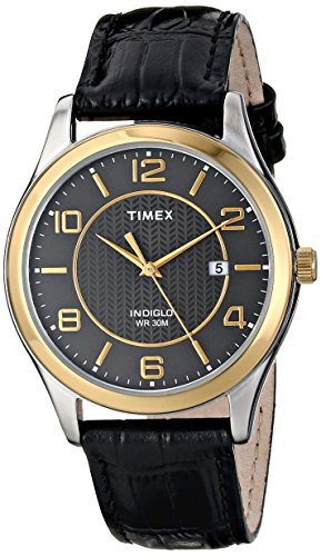 Timex Men's T2P4509J Main Street Dress Watch with Black Leather Band