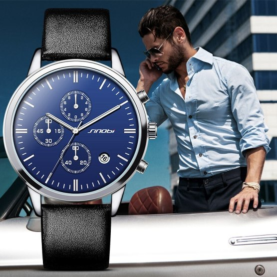 Multifunction Mens Wrist Watches Black Leather Strap