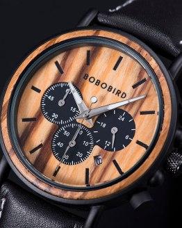 BOBO BIRD Stopwatch Bamboo Wooden Watch Gift in Wood Box