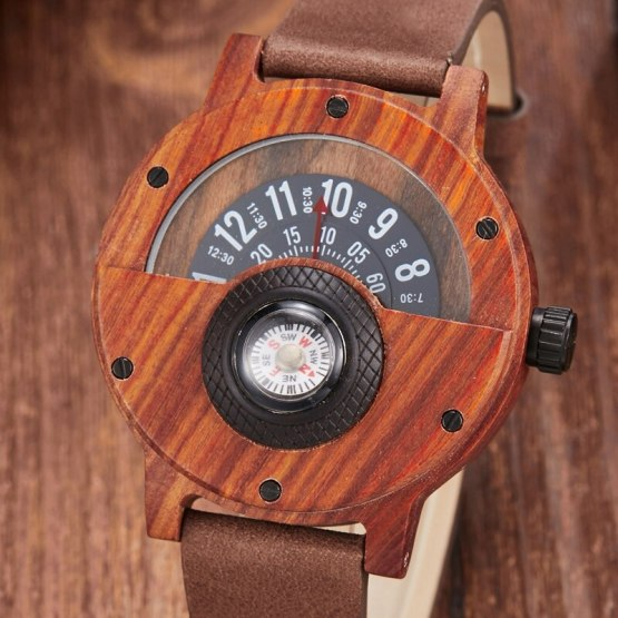 Wooden Watch Men Wrist Real Solid Natural Walnut