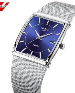 NIBOSI Creative Brand Luxury Mens Square Quartz Watch