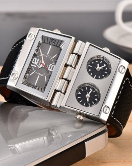 Oulm 2 Different Square Dials Watch 3 Time Zone