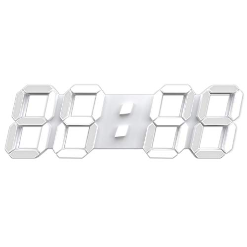 """3D LED Wall Clock 15"""" Remote Control Digital Timer Nightlight Watch Alarm Clock for Warehouse Office Home Living Room,12/24 Hour Display, Brightness to Adjust"""