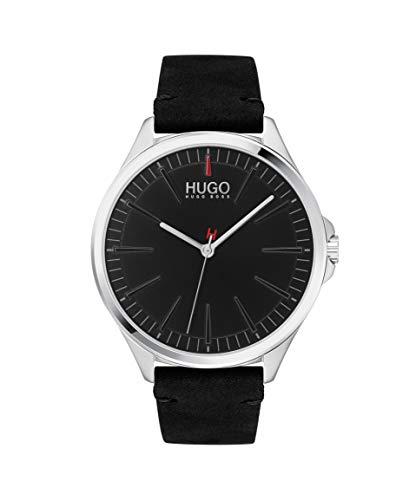 Black Watch with Leather Calfskin Strap HUGO