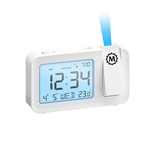Indoor Temperature Projection Alarm Clock with Backlight Display
