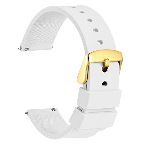 18mm Silicone Watch Band with Gold Buckle