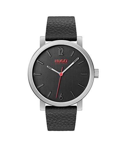 Leather Strap HUGO Stainless Steel Quartz Watch
