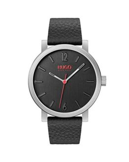 Leather Strap HUGO Stainless Steel Quartz Watch