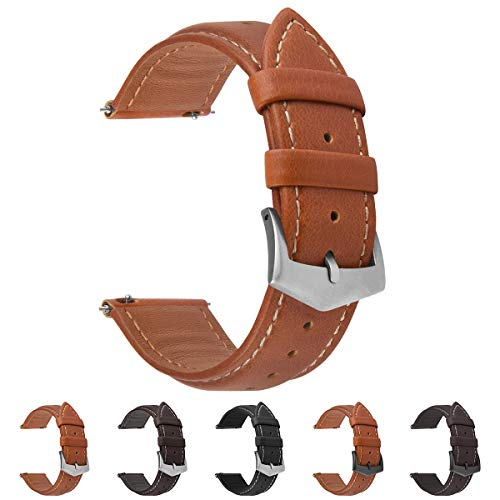 Dark Brown 20mm Watch Band Leather Quick Release