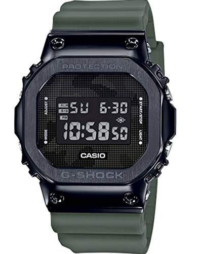 Men's Casio G-Shock Digital Black Ion-Plated Metal Bezel Camo Dial Watch
