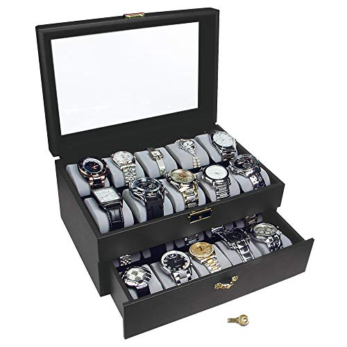 Ikee Design Deluxe Black Watch Display Box with Key Lock
