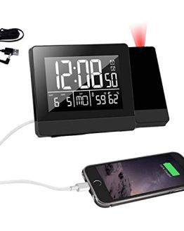 Geevon Projection Alarm Clock,Indoor Thermometer Hygrometer