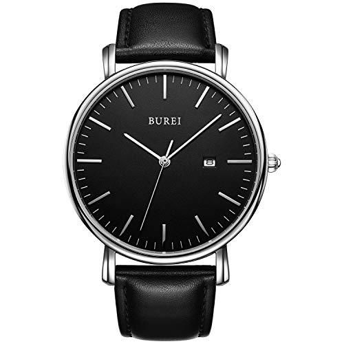 BUREI Men's Fashion Minimalist Wrist Watch Analog Black Date